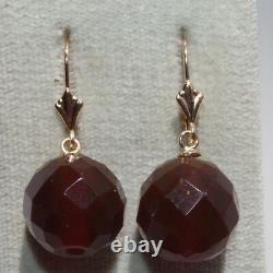 Handmade Antique Genuine 14k 13mm Faceted Cherry Amber Lever Back Earrings
