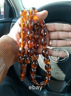 Huge Antique German genuine Faturan cherry amber bakelite Prayer beads 180 gr