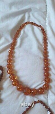 Job Lot Antique Art Deco Cherry Amber Bakelite Plastic Bead Necklace To Identify