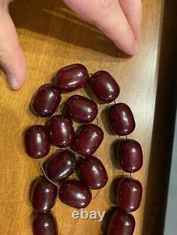 LARGE HUGE BEADS CHERRY AMBER BAKELITE SIKMA KEHRIBAR FATURAN RED 147 gr