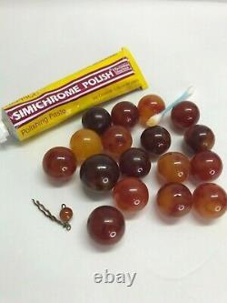 Large vintage cherry BAKELITE Chunky Lot 17 Beads OLD 21 mm 119.3 grams