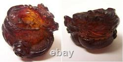 Lot of 6 Antique Carved RED AMBER BAKELITE Oriental Dragon Figurines