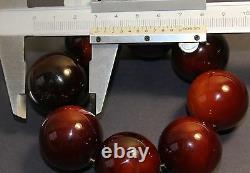 NATURAL AMBER BRACELET RED ANTIQUE, HUGE ROUND BEADS 29-31mm, 114g