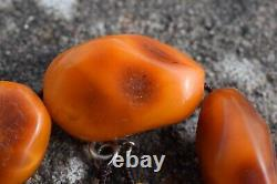 Natural Amber necklace antique from Denmark baltic amber egg yolk 1950s 78G