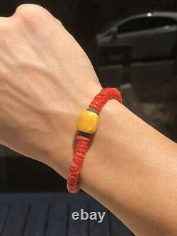 Natural Undyed Blood Red Coral Bracelet And Natural Baltic Amber Butterscotch