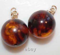 Old Stock Genuine 14k Gold 14mm Cherry Amber Bakelite Earrings Drop Jackets