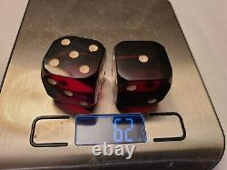 Pair Dark Red Cherry Amber Bakelite set of Dice 62g Unsigned Antique/Vintage