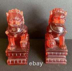Pair Of Antique Chinese Carved Amber Foo Dog Figurines 6.5