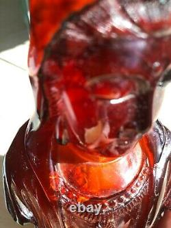 Qing Dynasty Antique Fine Chinese Carved Cherry Color Amber Guanyin