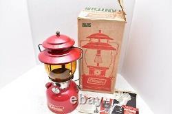 Rare 1972 Coleman 200 A Red Lantern Clean Amber Globe W Original Box & Papers