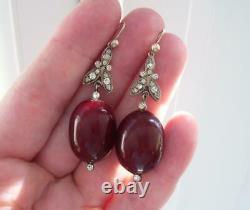 Rare Antique Georgian Cherry Amber Diamond Paste Chandelier Foil Back Earrings