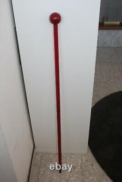 Rare Art Deco Walking Stick 1920s Stylish Cane Red Bakelite Cherry Amber Color