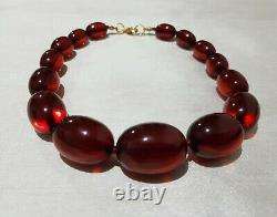 Red CHERRY Amber Bakelite, tested, antique, graduated beads, Art Deco, big beads