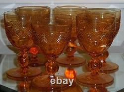 Set of 6 Antique American Brilliant Amber Cut Glass Crystal Red Wine Stems