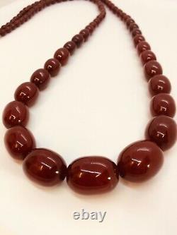 Superb Antique Art Deco Cherry Amber Bakelite Faturan Tasbih 112.8g Necklace 44