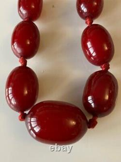Superb Antique Art Deco Marbled Bakelite Dark Cherry Amber Bead Necklace 67g