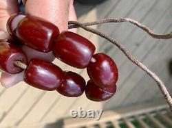 Superb Antique Cherry Amber Bakelite Faturan Prayer Beads 45g Veins Very Rare