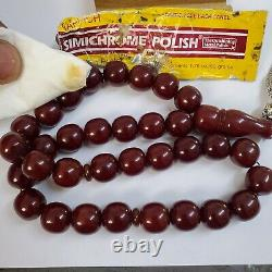 Tested original German Antique 33 cherry faturan amber bakelite Prayer Beads