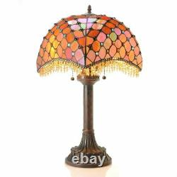 Tiffany Style Amber Beaded Stained Glass Victorian Theme Table Lamp