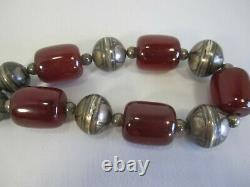 VINTAGE ANTIQUE CHERRY AMBER BAKELITE BEAD NECKLACE With NIELLO SILVER
