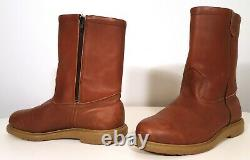 VINTAGE RED WING PECOS BOOTS 1985 ORO RUSSET ZIPPER BOOT with AMBER SUPER SOLE 9E
