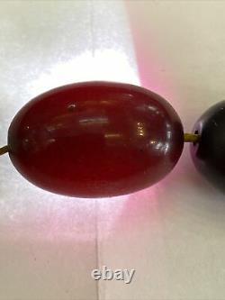 Very rare Antique Red Cherry Amber Faturan Bakelite Prayer Beads Tasbih