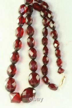 Victorian Antique 10k Gold Faceted Cherry Amber Bakelite Necklace 16 Inch 18 Gr