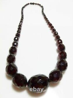 Victorian Antique Cherry Amber Bakelite Faceted Bead Graduated Strand Necklace