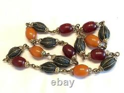 Vintage / Antique Amber & Cherry Amber Bakelite & Composition Bead Necklace