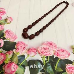 Vintage Antique Cherry Amber Bakelite 12 inch Strand Oval Shape Bead Necklaces