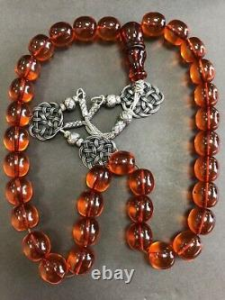 Vintage Antique Cherry Amber Faturan Bakalite -islamic prayer 33 Beads 103G R5