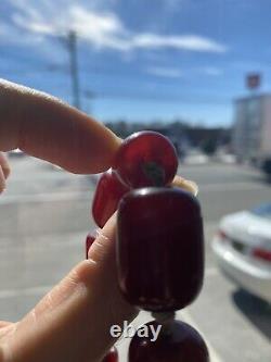 Vintage Antique Cherry Amber Faturan Bakelite Barrel Shaped Beads 67 Grams