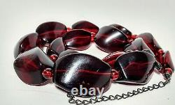 Vintage Antique Cherry Amber Faturan Bakelite Graduated Bead Necklace 54gr