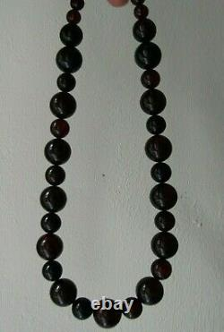Vintage/Antique Cherry Round Amber Long Necklace 60 g