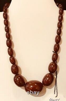 Vintage Antique Large Cherry Amber Bakelite Necklace Strand