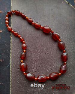 Vintage Art Deco Cherry Amber Bakelite Chunky Beads Necklace Tested Collector