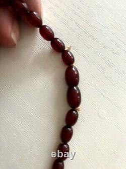 Vintage Art Deco Faturan Cherry Amber Bakelite Bead Necklace 23 g ALL SWIRL