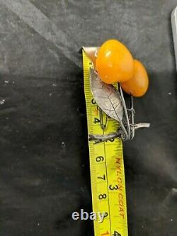 Vintage Butterscotch Amber Brooch Cherry Shape Silver Pins
