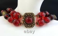 Vintage CHINESE Gilt Sterling Silver Cherry Amber Bakelite 2 Stand Necklace