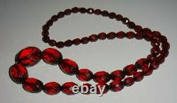Vintage Cherry Amber Bakelite Faceted Graduated Bead Long Necklace 58g