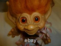 Vintage Dam Things Tailed Troll 1965 W Orig Outfit Red Mohair Amber Eyes Rare 7