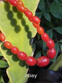 Vintage Faturan Art Deco Cherry Amber 28 Grams Barrel Beads Antique Necklace
