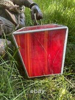 Vintage German/swiss Mountain Climber Amber Stained Glass Hanging Lamp
