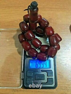 Vintage antique Genuine Cherry Amber Bakelite Faturan Islamic Prayer Beads 69g