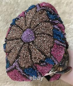 Vtg/Antique Art Deco Carved Cherry Amber Bakelite Frame Micro Bead Handbag/Purse