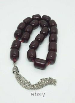 103 Grams Antique Faturan Cerise Ambre Rosaire Perles De Prière Marbrées