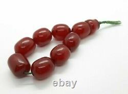 104.3 Grams Antique Faturan Cherry Amber Bakelite Perles De Prière Tesbih Misbah