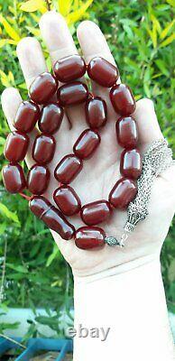105 Grams Antique Faturan Cerise Ambre Rosaire Perles De Prière Marbrées