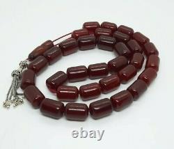 106.5 Grammes Antique Faturan Cherry Amber Rosary Prayer Perles Marbrées