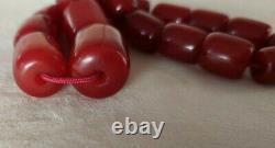 110.5 Grams Antique Cherry Ambre Collier Faturan Perles Marbrées